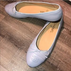 Chanel light blue leather flats